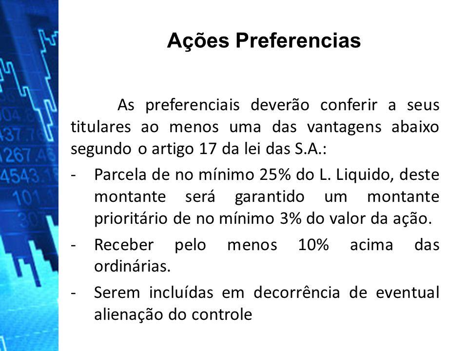 As preferenciais deverão conferir a seus titulares ao menos uma das vantagens abaixo segundo o artigo 17 da lei das S.A.: -Parcela de no mínimo 25% do L.