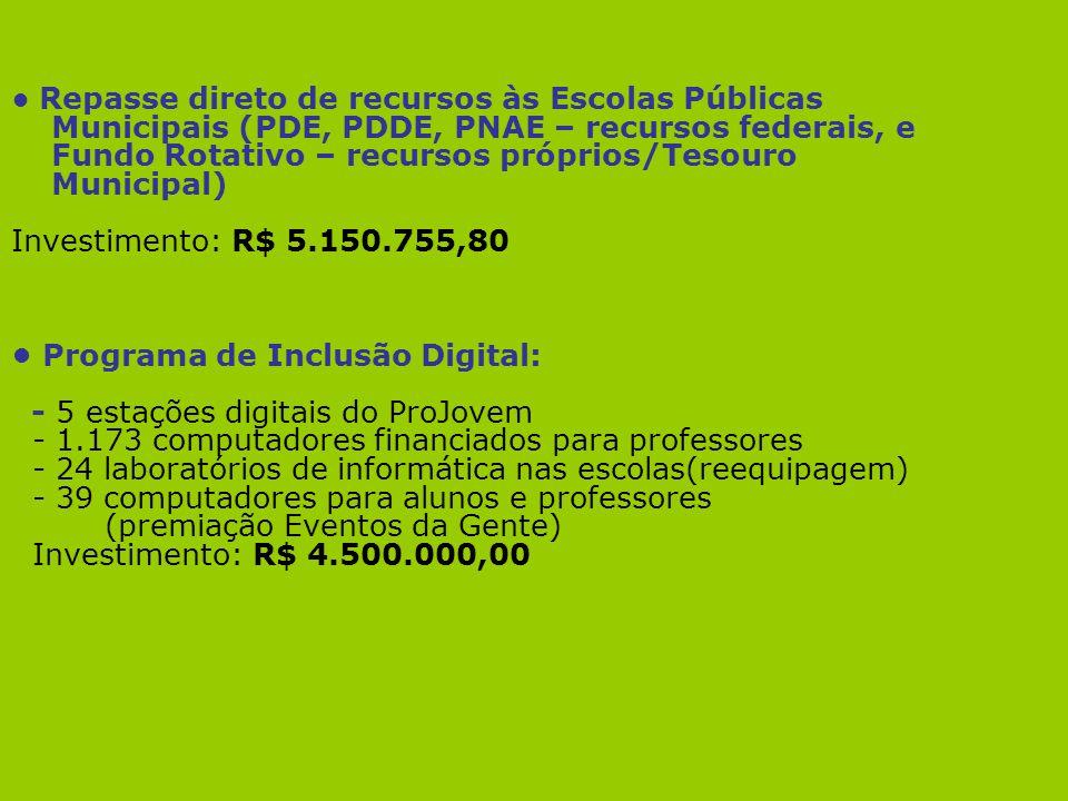 Repasse direto de recursos às Escolas Públicas Municipais (PDE, PDDE, PNAE – recursos federais, e Fundo Rotativo – recursos próprios/Tesouro Municipal
