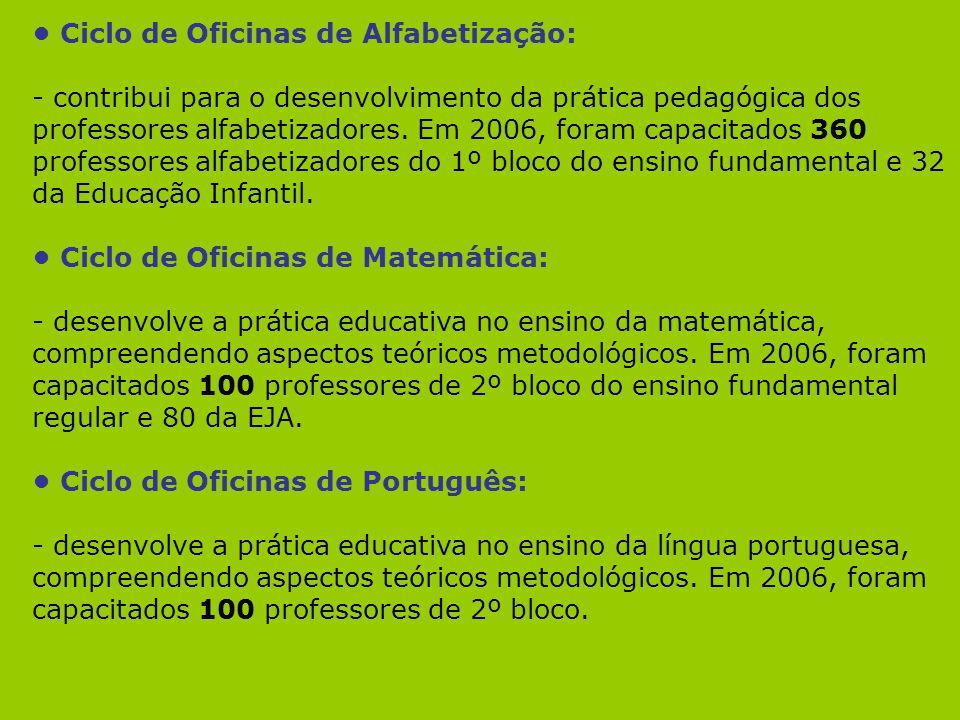 Ciclo de Oficinas de Alfabetização: - contribui para o desenvolvimento da prática pedagógica dos professores alfabetizadores. Em 2006, foram capacitad