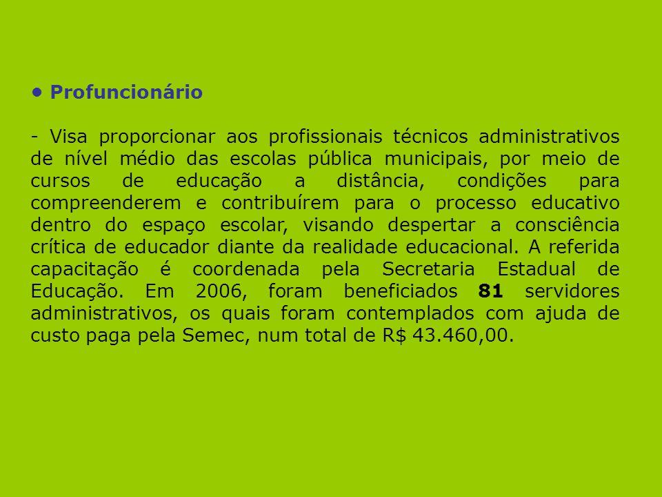Profuncionário - Visa proporcionar aos profissionais técnicos administrativos de nível médio das escolas pública municipais, por meio de cursos de edu