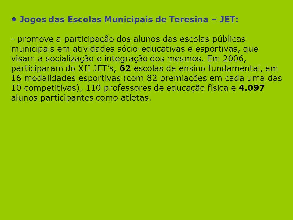 Jogos das Escolas Municipais de Teresina – JET: - promove a participação dos alunos das escolas públicas municipais em atividades sócio-educativas e e