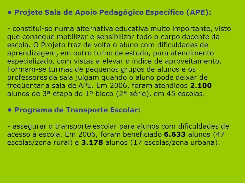 Projeto Sala de Apoio Pedagógico Específico (APE): - constitui-se numa alternativa educativa muito importante, visto que consegue mobilizar e sensibil