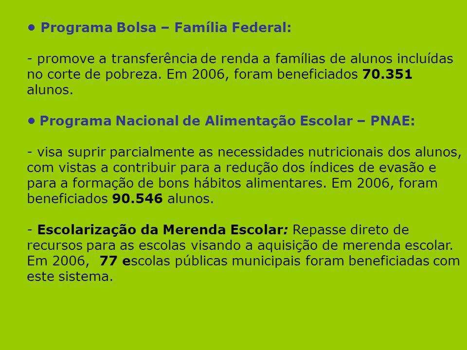 Programa Bolsa – Família Federal: - promove a transferência de renda a famílias de alunos incluídas no corte de pobreza. Em 2006, foram beneficiados 7