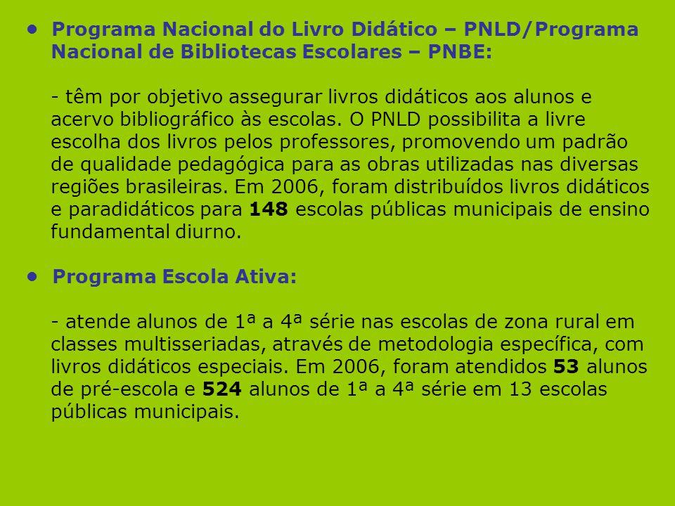 Programa Nacional do Livro Didático – PNLD/Programa Nacional de Bibliotecas Escolares – PNBE: - têm por objetivo assegurar livros didáticos aos alunos