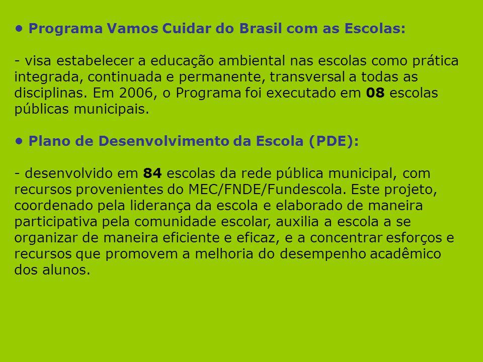 Programa Vamos Cuidar do Brasil com as Escolas: - visa estabelecer a educação ambiental nas escolas como prática integrada, continuada e permanente, t