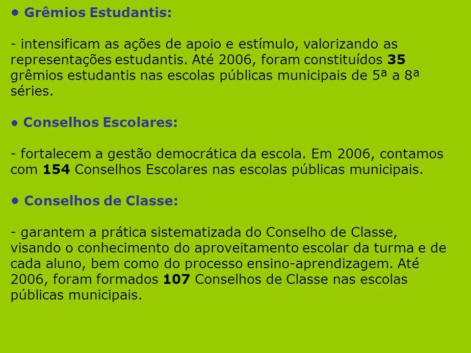 Grêmios Estudantis: - intensificam as ações de apoio e estímulo, valorizando as representações estudantis. Até 2006, foram constituídos 35 grêmios est