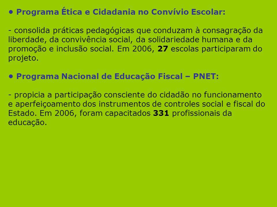 Programa Ética e Cidadania no Convívio Escolar: - consolida práticas pedagógicas que conduzam à consagração da liberdade, da convivência social, da so
