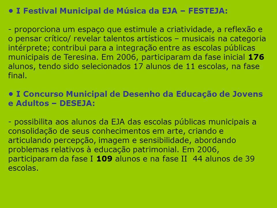 I Festival Municipal de Música da EJA – FESTEJA: - proporciona um espaço que estimule a criatividade, a reflexão e o pensar crítico/ revelar talentos