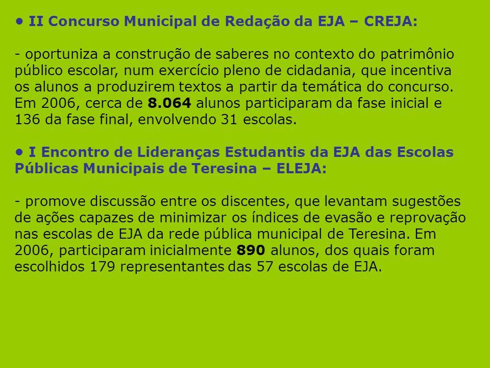 II Concurso Municipal de Redação da EJA – CREJA: - oportuniza a construção de saberes no contexto do patrimônio público escolar, num exercício pleno d