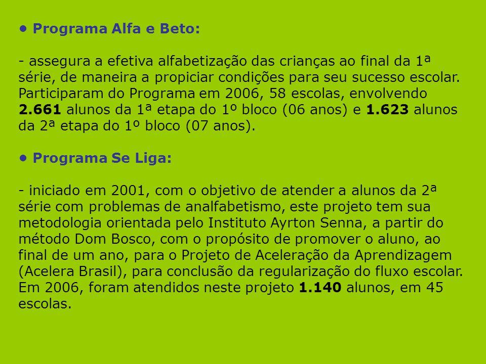 Programa Alfa e Beto: - assegura a efetiva alfabetização das crianças ao final da 1ª série, de maneira a propiciar condições para seu sucesso escolar.