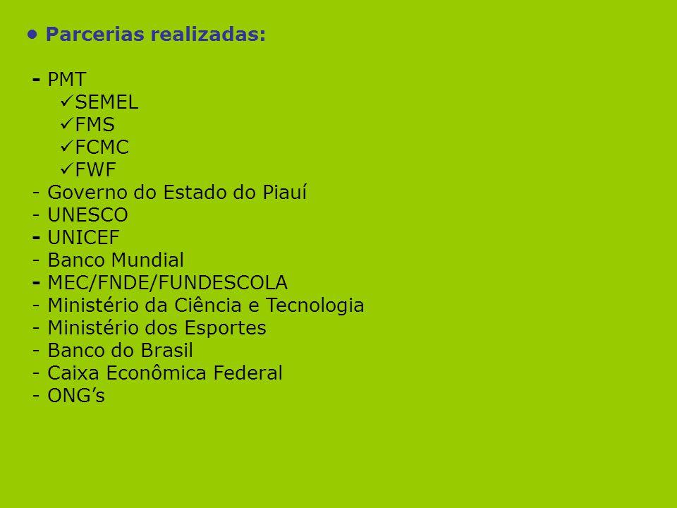 Parcerias realizadas: - PMT SEMEL FMS FCMC FWF - Governo do Estado do Piauí - UNESCO - UNICEF - Banco Mundial - MEC/FNDE/FUNDESCOLA - Ministério da Ci