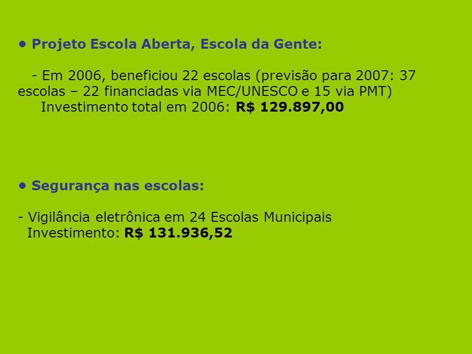 Projeto Escola Aberta, Escola da Gente: - Em 2006, beneficiou 22 escolas (previsão para 2007: 37 escolas – 22 financiadas via MEC/UNESCO e 15 via PMT)