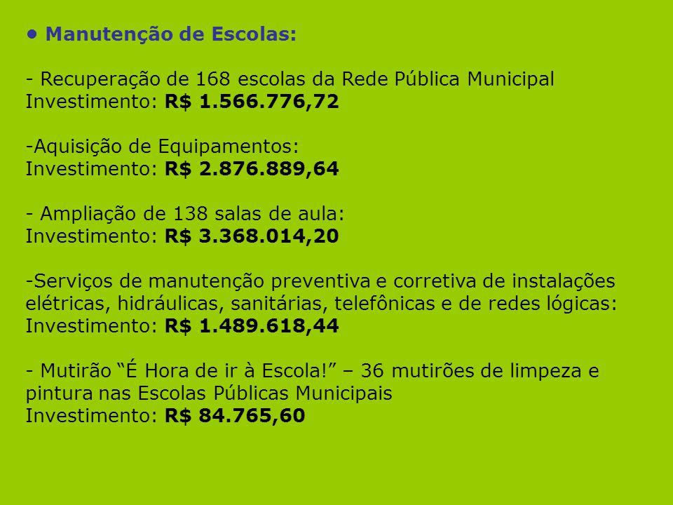 Manutenção de Escolas: - Recuperação de 168 escolas da Rede Pública Municipal Investimento: R$ 1.566.776,72 -Aquisição de Equipamentos: Investimento: