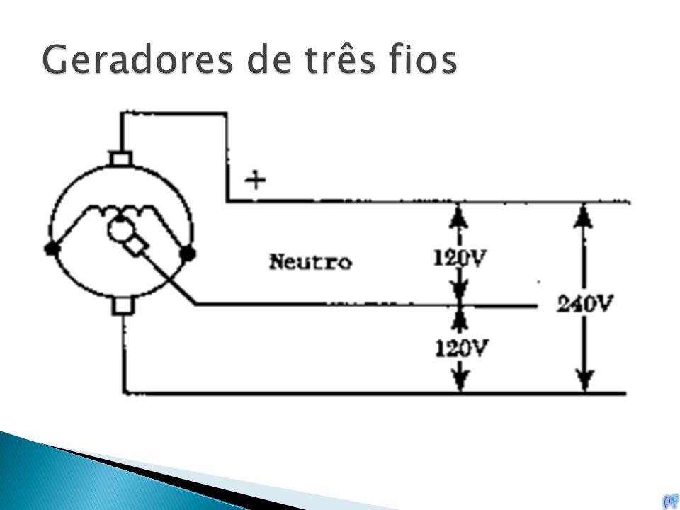 Alguns geradores CC, chamados geradores de três fios, são projetados para fornecer 240 ou 120V em relação a um fio neutro. Isto é conseguido pela liga