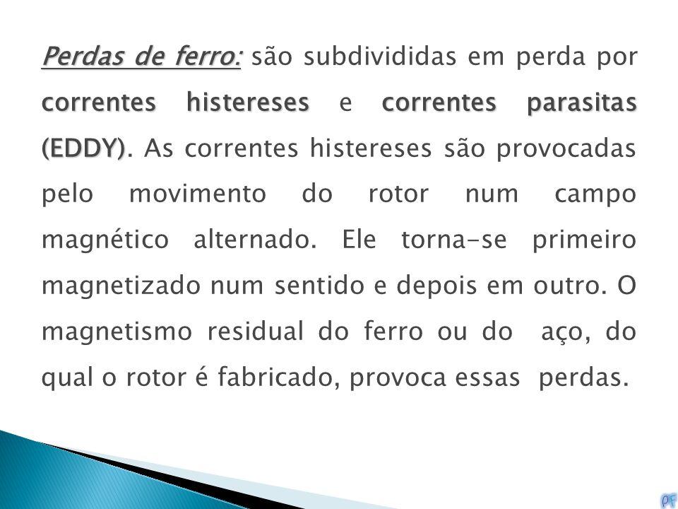 Perdas de ferro: correntes histereses correntes parasitas (EDDY) Perdas de ferro: são subdivididas em perda por correntes histereses e correntes paras