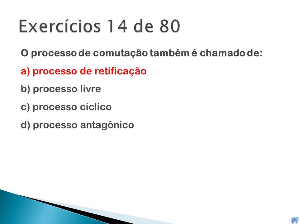 O processo de comutação também é chamado de: a) processo de retificação b) processo livre c) processo cíclico d) processo antagônico