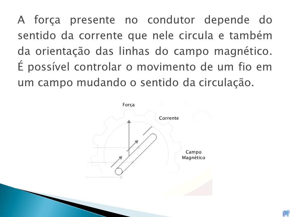 A força presente no condutor depende do sentido da corrente que nele circula e também da orientação das linhas do campo magnético. É possível controla