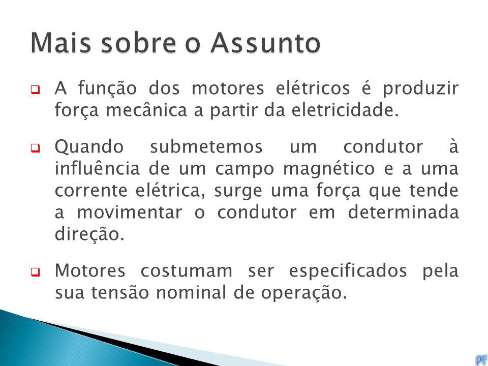  A função dos motores elétricos é produzir força mecânica a partir da eletricidade.  Quando submetemos um condutor à influência de um campo magnétic