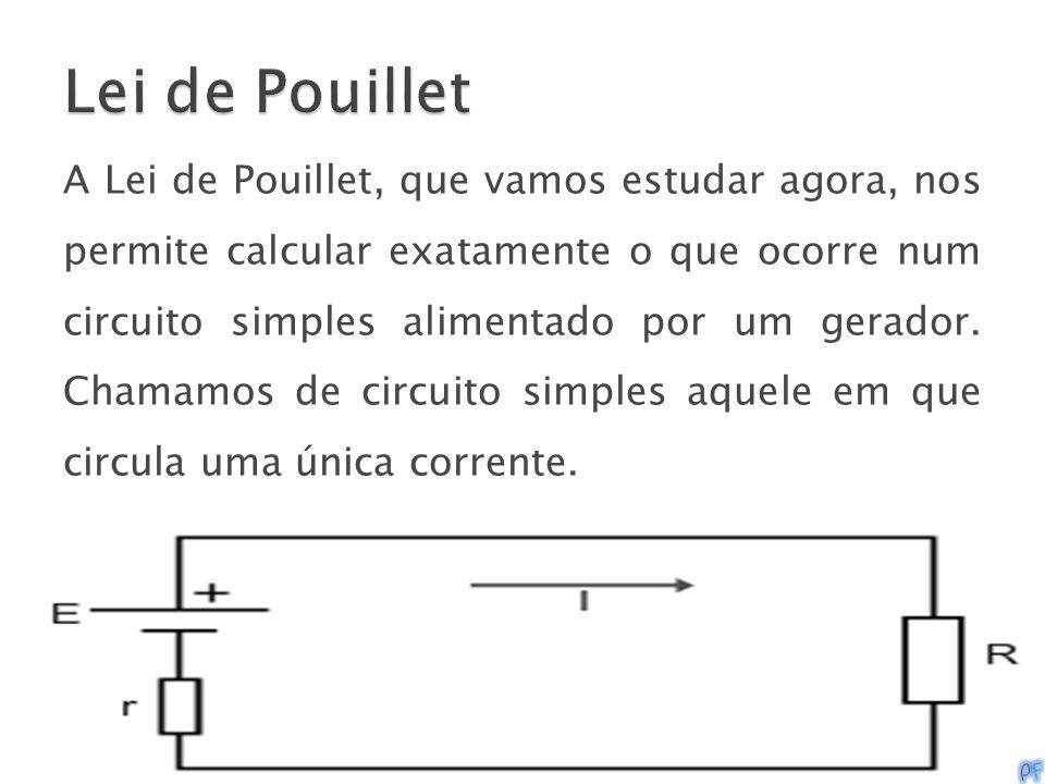A Lei de Pouillet, que vamos estudar agora, nos permite calcular exatamente o que ocorre num circuito simples alimentado por um gerador. Chamamos de c