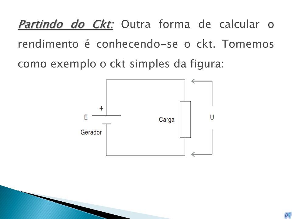 Partindo do Ckt: Partindo do Ckt: Outra forma de calcular o rendimento é conhecendo-se o ckt. Tomemos como exemplo o ckt simples da figura: