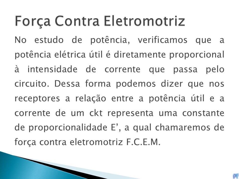 No estudo de potência, verificamos que a potência elétrica útil é diretamente proporcional à intensidade de corrente que passa pelo circuito. Dessa fo