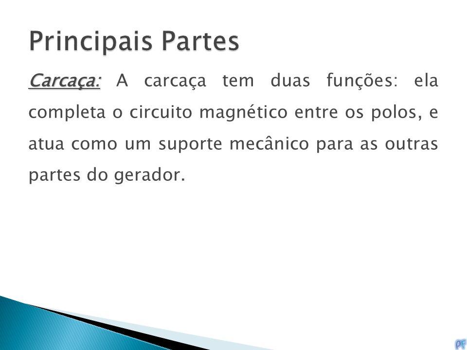 Carcaça: Carcaça: A carcaça tem duas funções: ela completa o circuito magnético entre os polos, e atua como um suporte mecânico para as outras partes