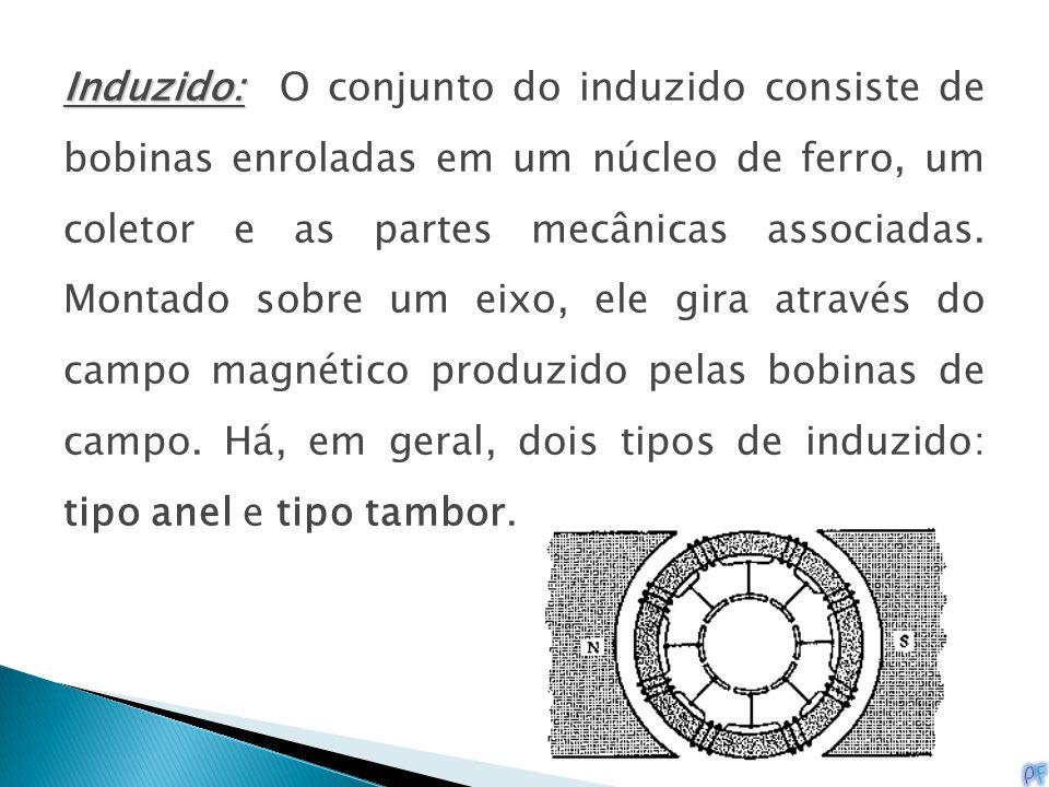 Induzido: Induzido: O conjunto do induzido consiste de bobinas enroladas em um núcleo de ferro, um coletor e as partes mecânicas associadas. Montado s