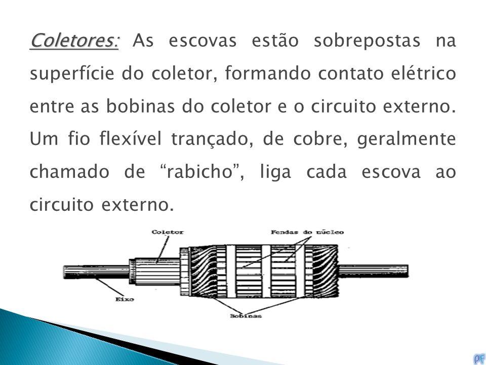 Coletores: Coletores: As escovas estão sobrepostas na superfície do coletor, formando contato elétrico entre as bobinas do coletor e o circuito extern