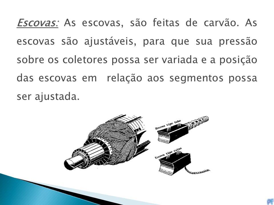 Escovas: Escovas: As escovas, são feitas de carvão. As escovas são ajustáveis, para que sua pressão sobre os coletores possa ser variada e a posição d