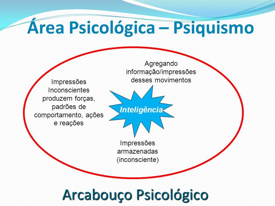 Área Psicológica – Psiquismo Agregando informação/impressões desses movimentos Impressões armazenadas (inconsciente) Impressões Inconscientes produzem