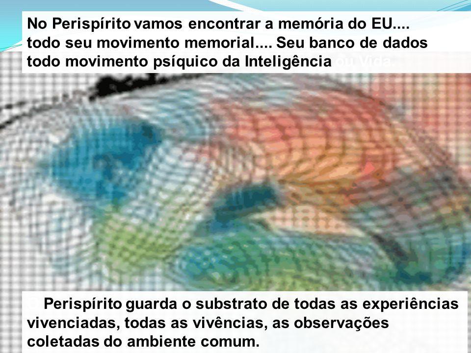 No Perispírito vamos encontrar a memória do EU.... todo seu movimento memorial.... Seu banco de dados todo movimento psíquico da Inteligência ou Vida.