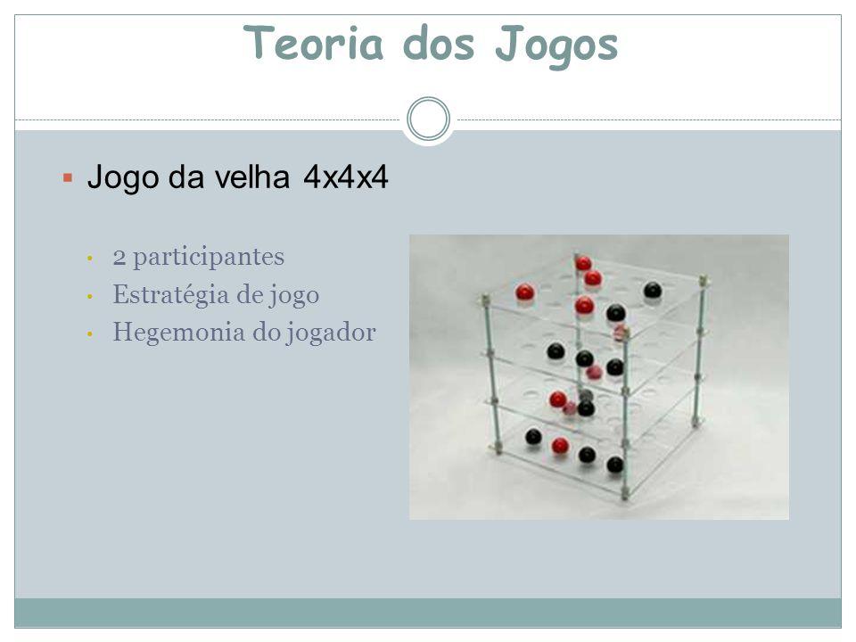  Jogo da velha 4x4x4 2 participantes Estratégia de jogo Hegemonia do jogador Teoria dos Jogos