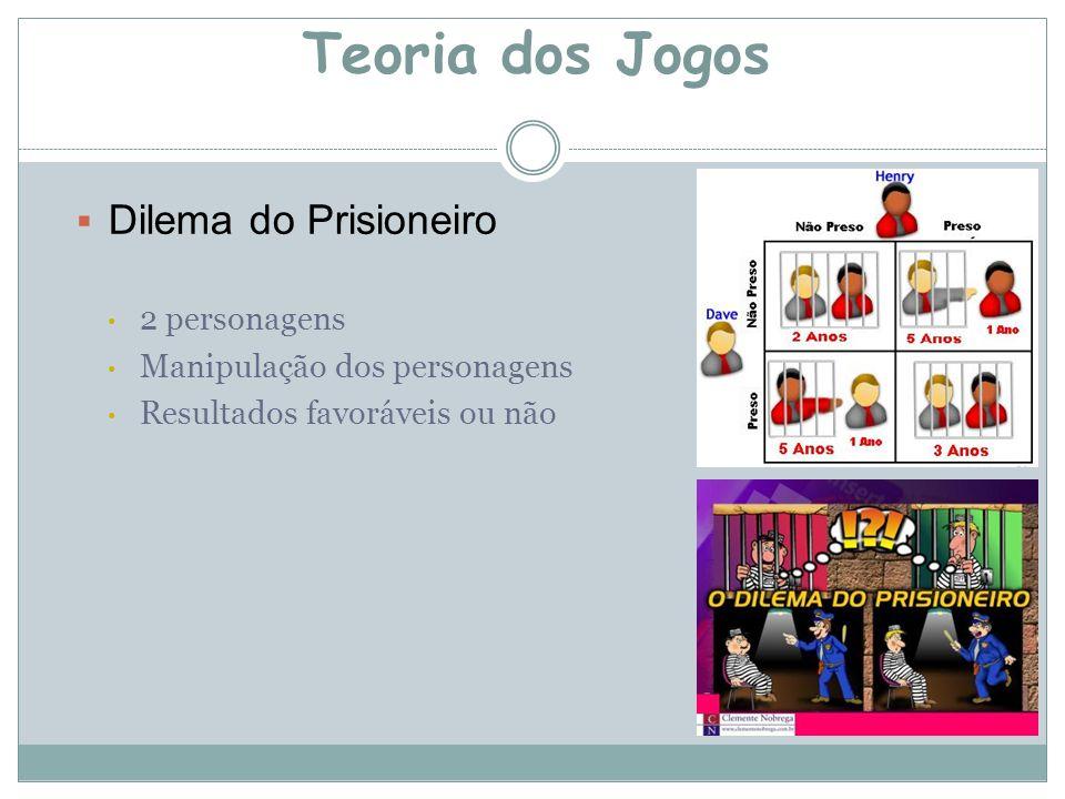  Dilema do Prisioneiro 2 personagens Manipulação dos personagens Resultados favoráveis ou não