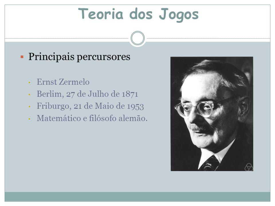  Principais percursores Ernst Zermelo Berlim, 27 de Julho de 1871 Friburgo, 21 de Maio de 1953 Matemático e filósofo alemão. Teoria dos Jogos