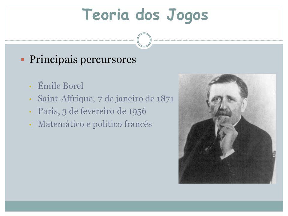  Principais percursores Émile Borel Saint-Affrique, 7 de janeiro de 1871 Paris, 3 de fevereiro de 1956 Matemático e político francês Teoria dos Jogos