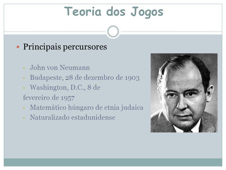  Principais percursores John von Neumann Budapeste, 28 de dezembro de 1903 Washington, D.C., 8 de fevereiro de 1957 Matemático húngaro de etnia judaica Naturalizado estadunidense Teoria dos Jogos