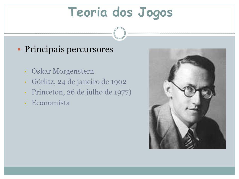  Principais percursores Oskar Morgenstern Görlitz, 24 de janeiro de 1902 Princeton, 26 de julho de 1977) Economista Teoria dos Jogos