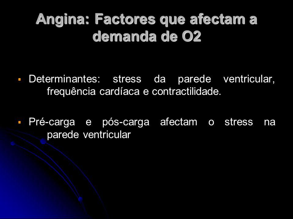 Angina: Factores que afectam a demanda de O2   Determinantes: stress da parede ventricular, frequência cardíaca e contractilidade.   Pré-carga e p