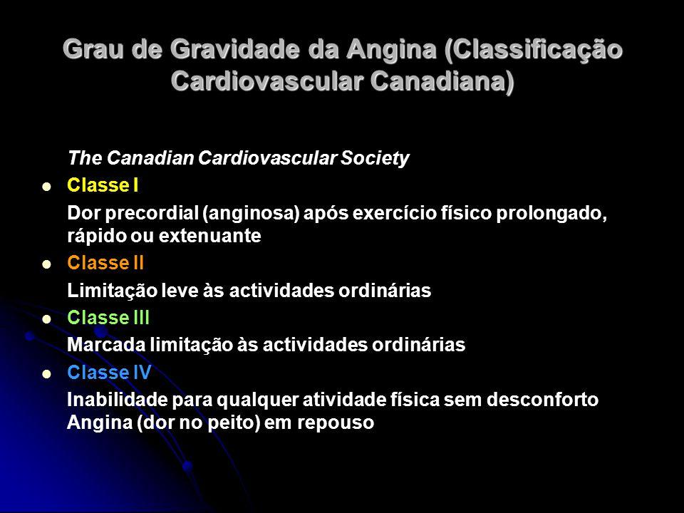 Grau de Gravidade da Angina (Classificação Cardiovascular Canadiana) The Canadian Cardiovascular Society Classe I Dor precordial (anginosa) após exerc