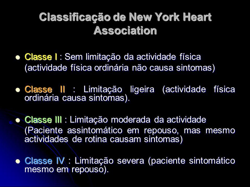 Classificação de New York Heart Association Classe I : Sem limitação da actividade física Classe I : Sem limitação da actividade física (actividade fí
