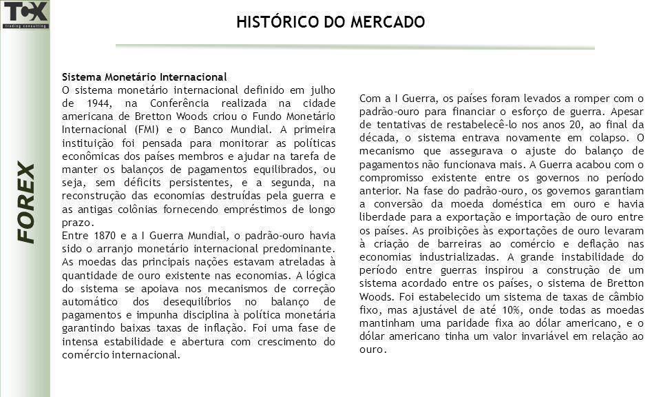 FOREX Sistema Monetário Internacional O sistema monetário internacional definido em julho de 1944, na Conferência realizada na cidade americana de Bre