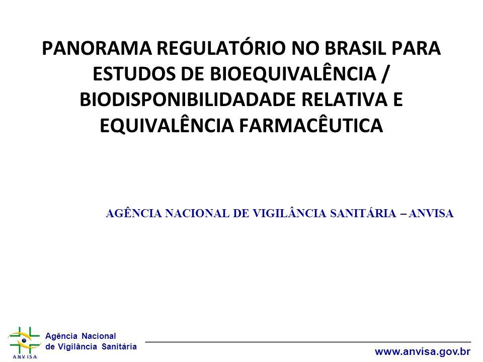 Agência Nacional de Vigilância Sanitária www.anvisa.gov.br PANORAMA REGULATÓRIO NO BRASIL PARA ESTUDOS DE BIOEQUIVALÊNCIA / BIODISPONIBILIDADADE RELAT