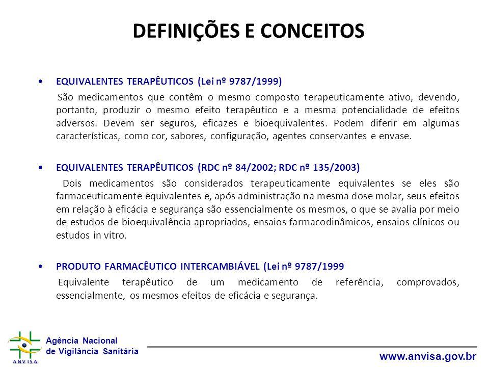 Agência Nacional de Vigilância Sanitária www.anvisa.gov.br DEFINIÇÕES E CONCEITOS EQUIVALENTES TERAPÊUTICOS (Lei nº 9787/1999) São medicamentos que co