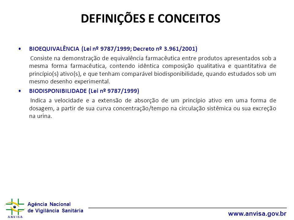 Agência Nacional de Vigilância Sanitária www.anvisa.gov.br DEFINIÇÕES E CONCEITOS BIOEQUIVALÊNCIA (Lei nº 9787/1999; Decreto nº 3.961/2001) Consiste n