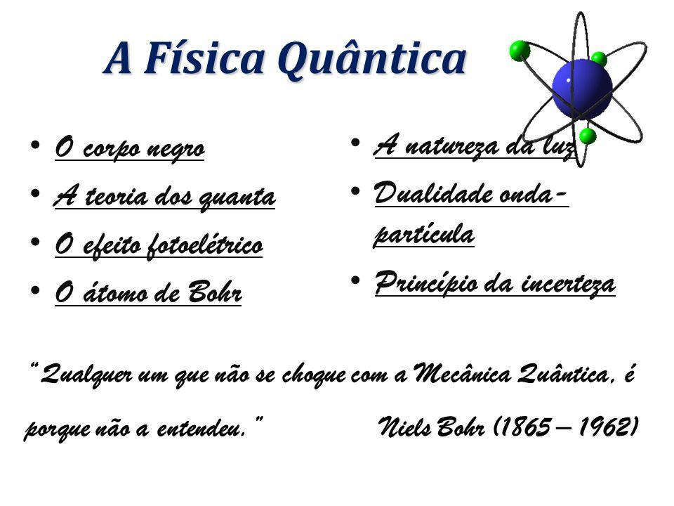 A natureza da luz Dualidade onda- partícula Princípio da incerteza A Física Quântica O corpo negro A teoria dos quanta O efeito fotoelétrico O átomo de Bohr Qualquer um que não se choque com a Mecânica Quântica, é porque não a entendeu. Niels Bohr (1865 – 1962)