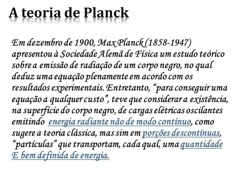 Em dezembro de 1900, Max Planck (1858-1947) apresentou à Sociedade Alemã de Física um estudo teórico sobre a emissão de radiação de um corpo negro, no qual deduz uma equação plenamente em acordo com os resultados experimentais.