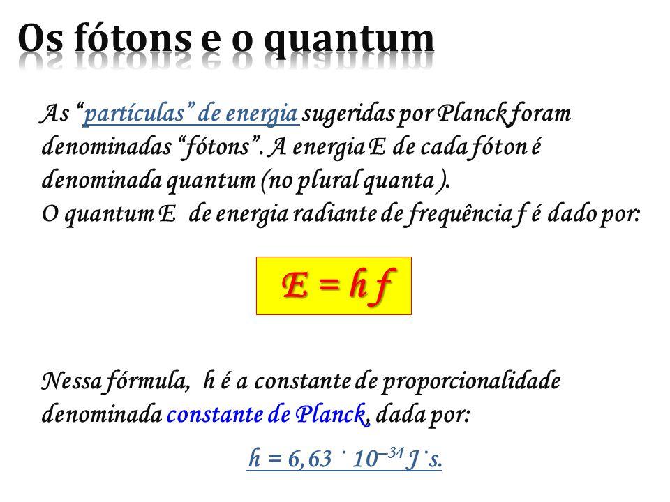 As partículas de energia sugeridas por Planck foram denominadas fótons .