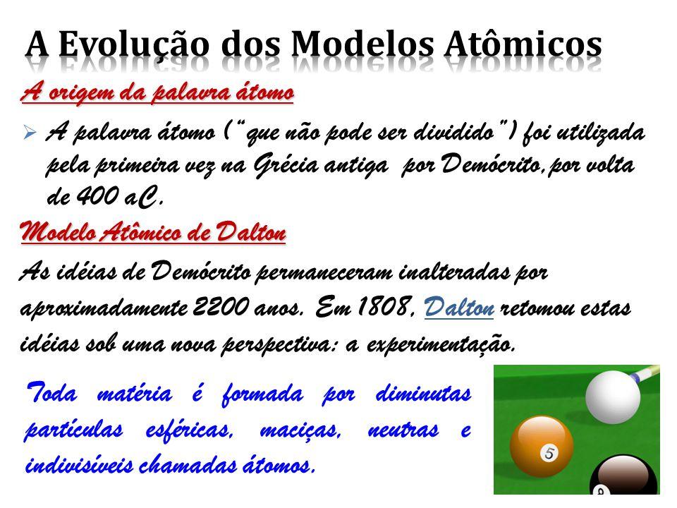 A origem da palavra átomo  A palavra átomo ( que não pode ser dividido ) foi utilizada pela primeira vez na Grécia antiga por Demócrito,por volta de 400 aC.