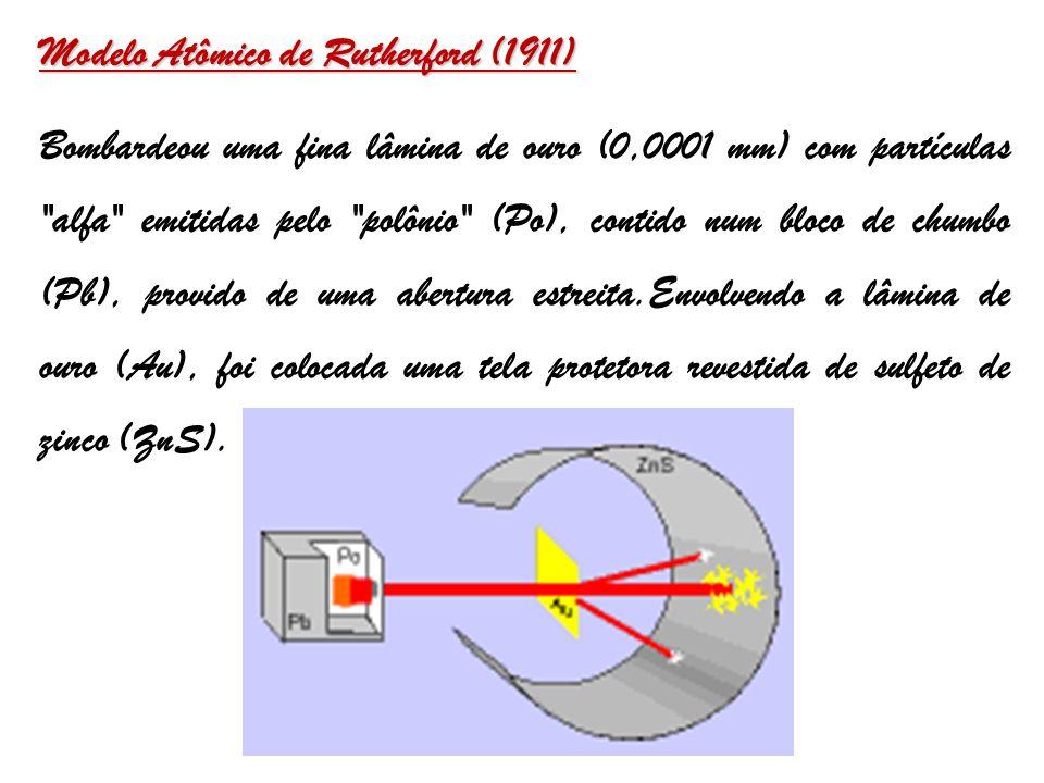 Modelo Atômico de Rutherford (1911) Bombardeou uma fina lâmina de ouro (0,0001 mm) com partículas alfa emitidas pelo polônio (Po), contido num bloco de chumbo (Pb), provido de uma abertura estreita.Envolvendo a lâmina de ouro (Au), foi colocada uma tela protetora revestida de sulfeto de zinco (ZnS).