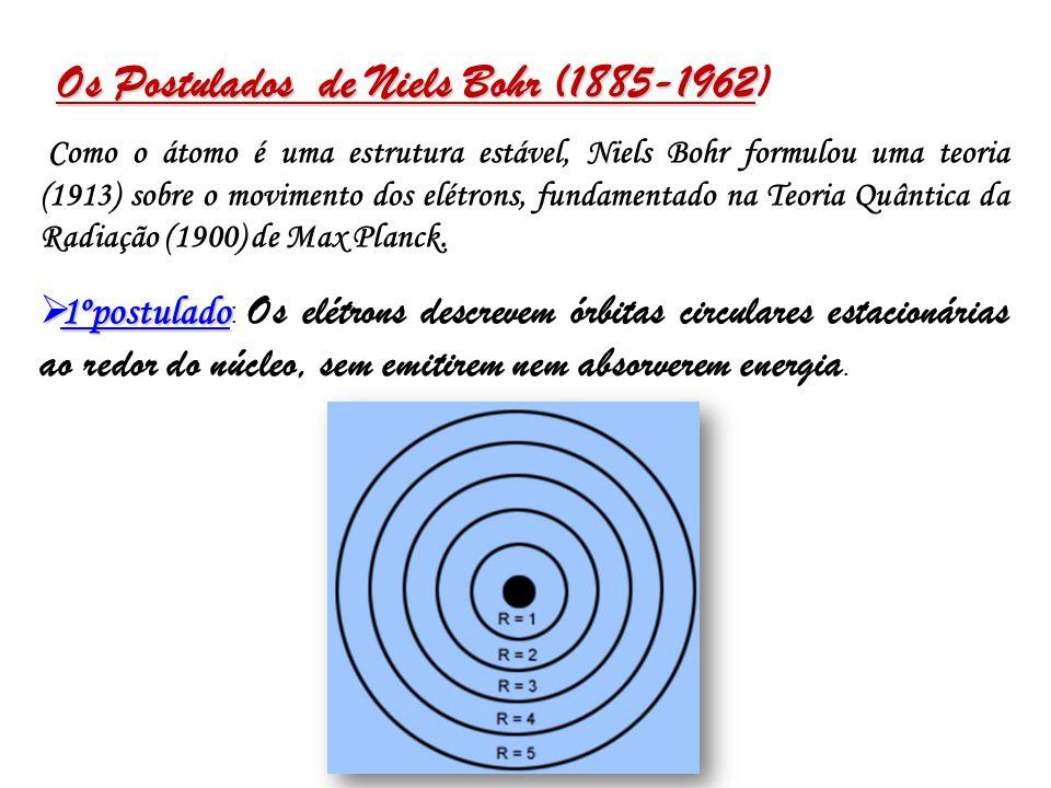 Os Postulados de Niels Bohr (1885-1962 Os Postulados de Niels Bohr (1885-1962) Como o átomo é uma estrutura estável, Niels Bohr formulou uma teoria (1913) sobre o movimento dos elétrons, fundamentado na Teoria Quântica da Radiação (1900) de Max Planck.